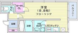 仙台市営南北線 泉中央駅 徒歩5分の賃貸マンション 2階1Kの間取り