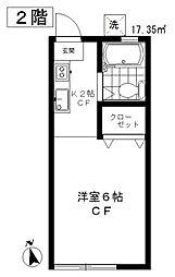 東京都目黒区上目黒4丁目の賃貸アパートの間取り