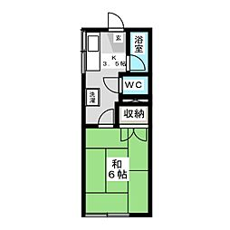 貝山ハイツ[2階]の間取り