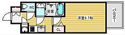 レジュールアッシュ中之島サウス 11階1Kの間取り