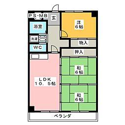 リバーサイド大和[2階]の間取り