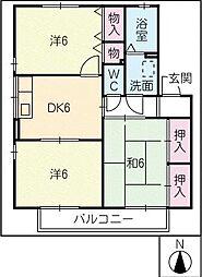 レザンフィールド B棟[2階]の間取り