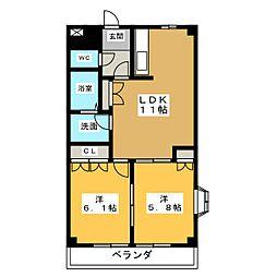 PRONITY HIRANO C[2階]の間取り