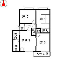滋賀県野洲市吉地の賃貸アパートの間取り