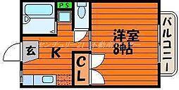 JR吉備線 備前三門駅 徒歩19分の賃貸マンション 2階1Kの間取り
