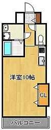 コートハウス中島通り 6階ワンルームの間取り
