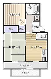 大阪府八尾市末広町2丁目の賃貸アパートの間取り