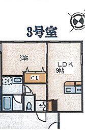 グランショア鎌倉 1階1LDKの間取り