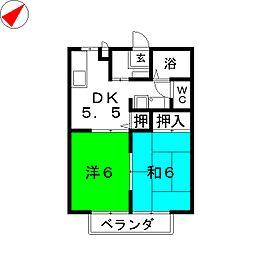 静岡県藤枝市下藪田の賃貸アパートの間取り