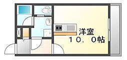 JR福塩線 神辺駅 徒歩5分の賃貸アパート 1階ワンルームの間取り