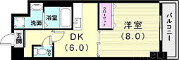 神戸市西神・山手線 伊川谷駅 徒歩6分の賃貸マンション 4階1DKの間取り