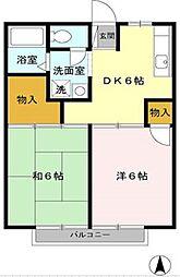 東京都武蔵村山市伊奈平6丁目の賃貸アパートの間取り