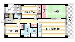 奈良県生駒市中菜畑1丁目の賃貸マンションの間取り