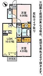 D-roomBrlliant 1階2LDKの間取り