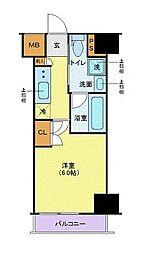 メイクスデザイン武蔵小杉アジールコート 7階1Kの間取り