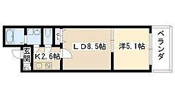 クリエオーレ別府[203号室]の間取り