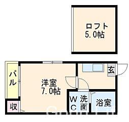 福岡県福岡市城南区七隈3丁目の賃貸アパートの間取り
