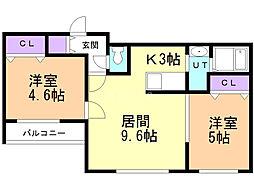 ブランシャール幌平橋 3階2LDKの間取り