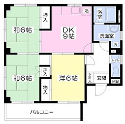 JR京浜東北・根岸線 大宮駅 徒歩16分の賃貸マンション 2階3DKの間取り