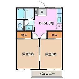 三重県三重郡川越町大字高松の賃貸アパートの間取り