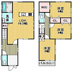 [一戸建] 大阪府高石市綾園6丁目 の賃貸【/】の間取り