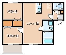 JR鹿児島本線 箱崎駅 徒歩8分の賃貸アパート 2階2LDKの間取り