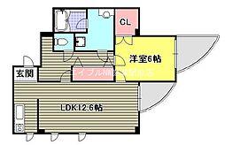 上杉第7ビル西古松[3階]の間取り