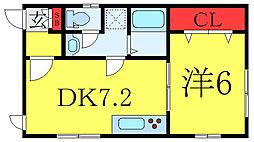 フジハイツ 1階1DKの間取り