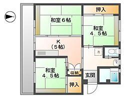 滋賀県東近江市五個荘石塚町の賃貸マンションの間取り