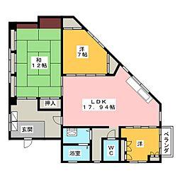 恵那ビル3階住居[3階]の間取り