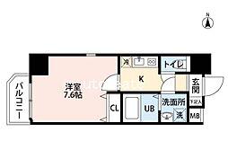 ウォブ梅田(W.O.B. UMEDA) 5階1Kの間取り