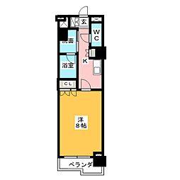 グラン・アベニュー鶴舞公園 9階1Kの間取り