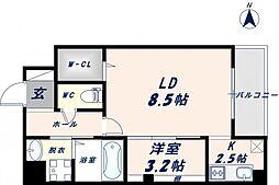 ベリーウェルIII 6階1LDKの間取り
