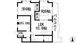 ローレルハイツ2[2階]の間取り