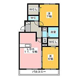 エアリースクエア A棟[2階]の間取り