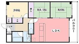 兵庫県西宮市甲子園四番町の賃貸マンションの間取り
