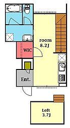 ホワイトキャッスル第1 1階ワンルームの間取り