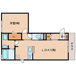 JR奈良線 奈良駅 徒歩23分の賃貸アパート 1階1LDKの間取り