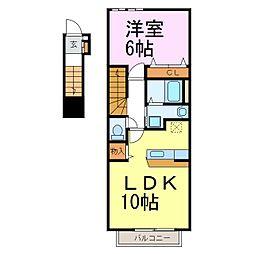 愛知県半田市新居町7丁目の賃貸アパートの間取り