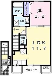 ローレル 福崎新 2階1LDKの間取り