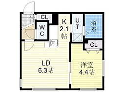 札幌市営東豊線 北13条東駅 徒歩5分の賃貸マンション 1階1LDKの間取り