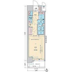 LEGESTA大阪レジデンス 4階1Kの間取り