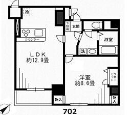 東京メトロ銀座線 京橋駅 徒歩6分の賃貸マンション 7階1LDKの間取り