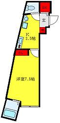小石川フィエルテ 3階1Kの間取り