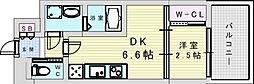 阪急宝塚本線 三国駅 徒歩5分の賃貸マンション 9階1DKの間取り