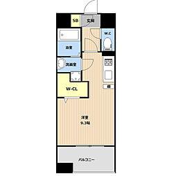 JR鹿児島本線 吉塚駅 徒歩5分の賃貸マンション 11階ワンルームの間取り