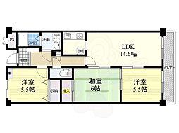 阪急千里線 千里山駅 徒歩15分の賃貸マンション 2階3LDKの間取り