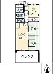 ゆたか台マンション[4階]の間取り