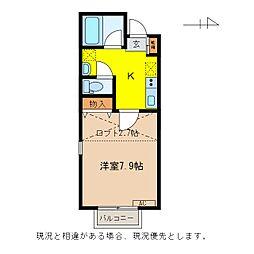 長野電鉄長野線 本郷駅 徒歩12分の賃貸アパート 2階1Kの間取り