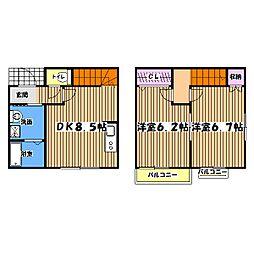 東京都八王子市七国5丁目の賃貸アパートの間取り